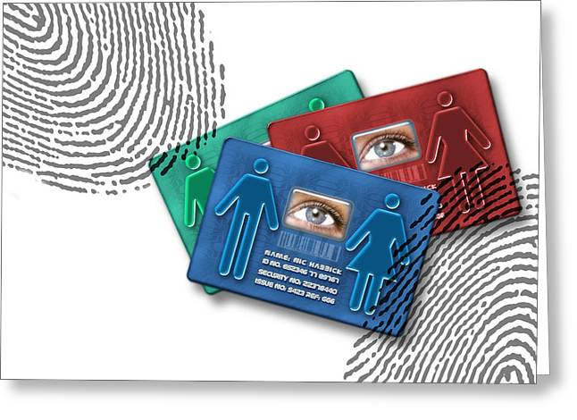 Biometric Id Cards Greeting Card by Victor Habbick Visions