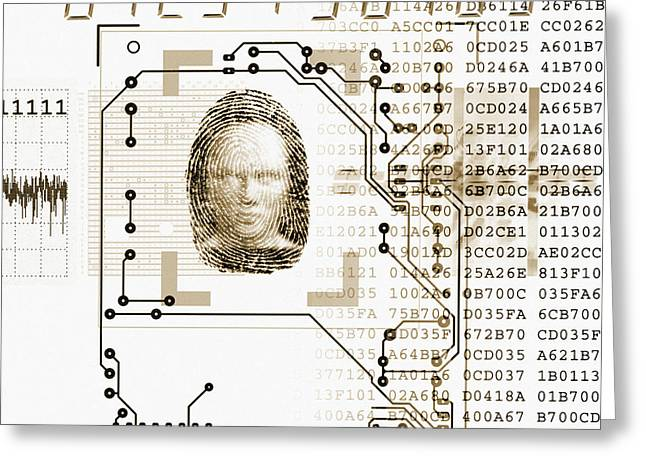 Face Recognition Photographs Greeting Cards - Biometric Identification Greeting Card by Mehau Kulyk