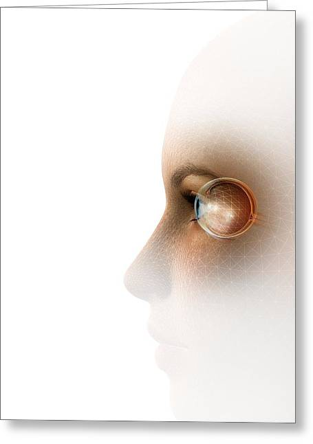 Face Recognition Photographs Greeting Cards - Biometric Recognition, Conceptual Artwork Greeting Card by Claus Lunau