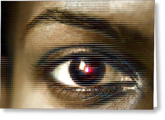 Biometrics Greeting Cards - Biometrics, Conceptual Artwork Greeting Card by Mehau Kulyk