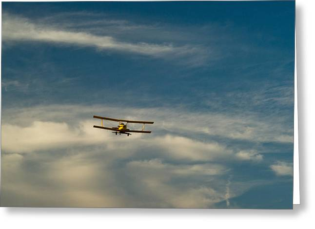 Crop Dusters Greeting Cards - Biplane in the Sky 1 Greeting Card by Douglas Barnett