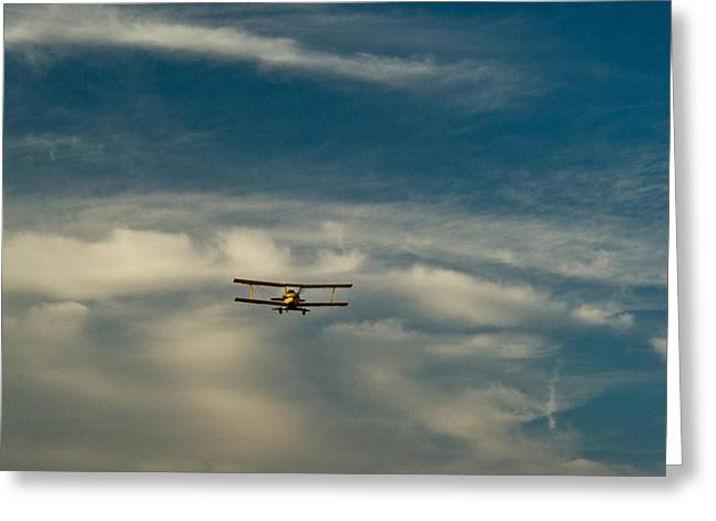 Crop Dusters Greeting Cards - Biplane in the Sky 3 Greeting Card by Douglas Barnett