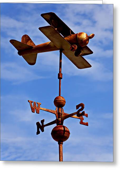 Wind Vane Greeting Cards - Biplane weather vane Greeting Card by Garry Gay
