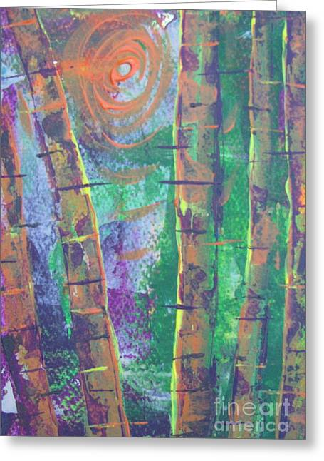 Beige Abstract Greeting Cards - Birch 7 Greeting Card by Jacqueline Athmann