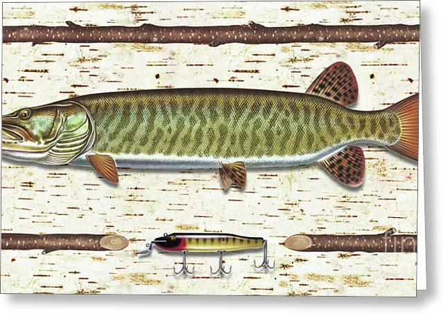Muskies Greeting Cards - Birch Musky Greeting Card by JQ Licensing