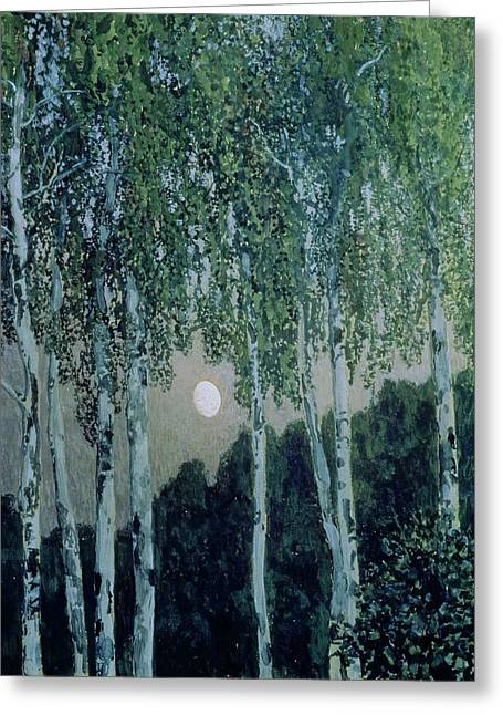Moonlight Scene Paintings Greeting Cards - Birch Trees Greeting Card by Aleksandr Jakovlevic Golovin