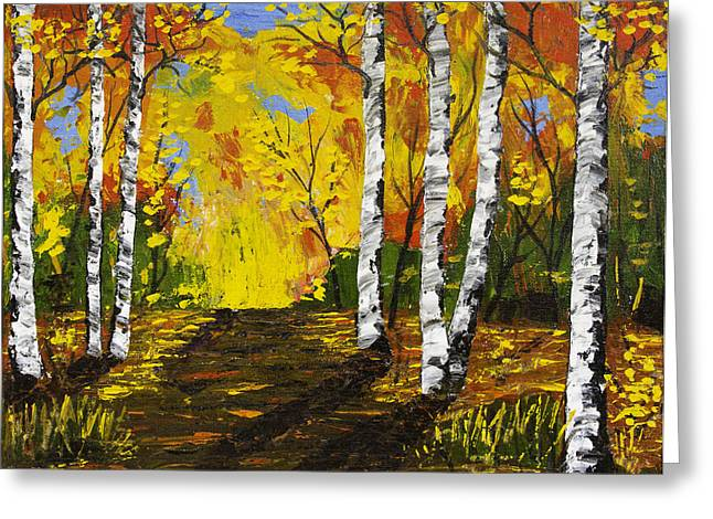 Autumn Prints Greeting Cards - Birch Trees and Road Fall Painting Greeting Card by Keith Webber Jr