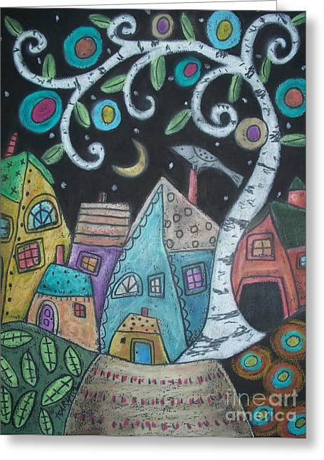 Oil Pastels Pastels Greeting Cards - Birch Village Greeting Card by Karla Gerard
