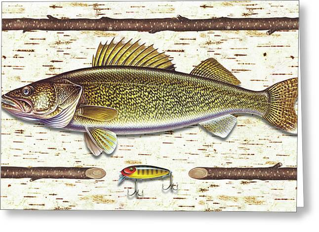 Jq Licensing Paintings Greeting Cards - Birch Walleye Greeting Card by JQ Licensing