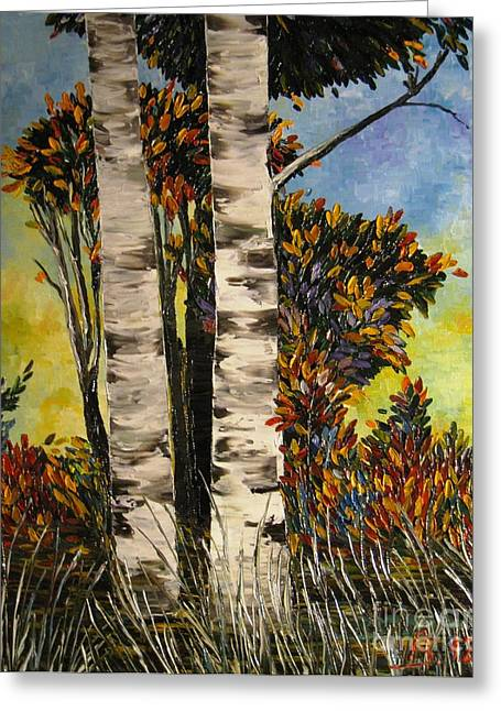 Birches For My Friend Greeting Card by AmaS Art