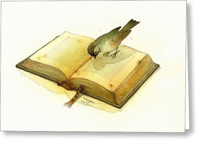 Book Greeting Cards - Bird and Book Greeting Card by Kestutis Kasparavicius