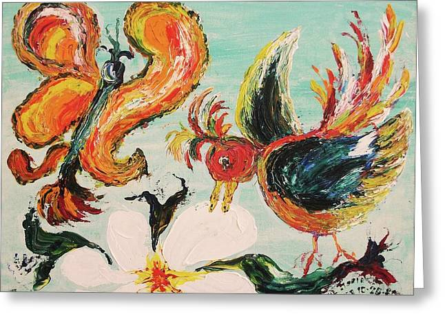 Leclair Paintings Greeting Cards - Bird and Butterfly Greeting Card by Suzanne  Marie Leclair