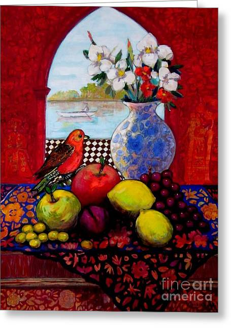 Orange Tapestries - Textiles Greeting Cards - Bird And Stil Life Greeting Card by Marilene Sawaf