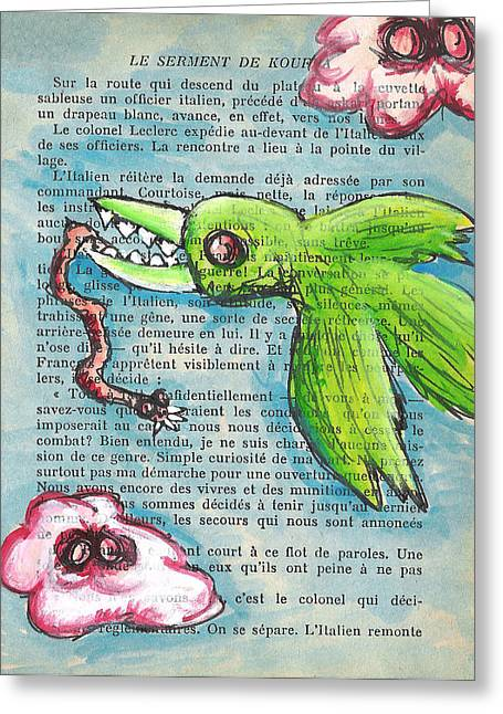 Macbre Greeting Cards - Bird and Worm Greeting Card by Jera Sky