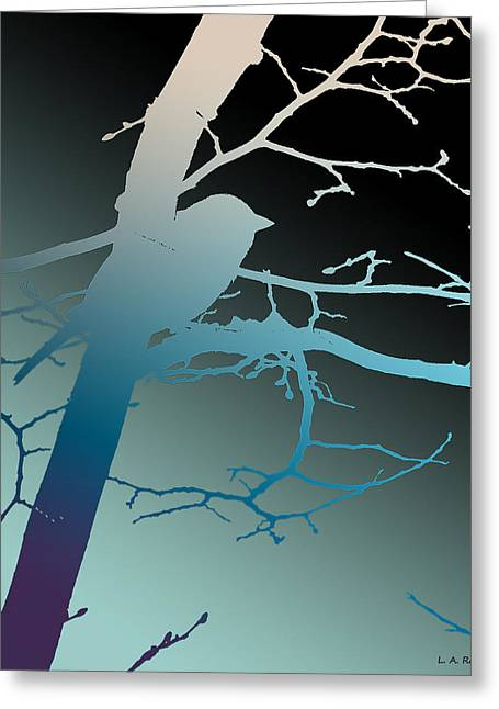 Silk Screen Greeting Cards - Bird at Twilight Greeting Card by Lauren Radke