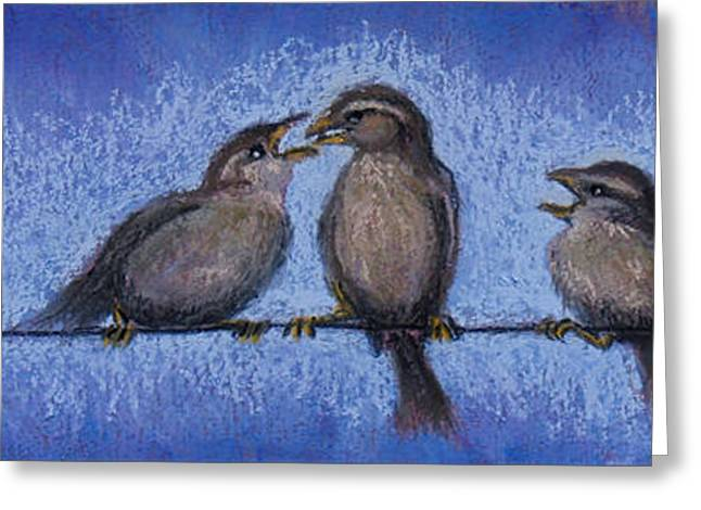 Birds Pastels Greeting Cards - Bird Babies on a Wire Greeting Card by Susan Jenkins