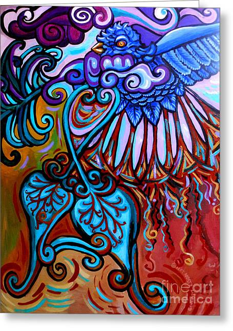 Print On Acrylic Greeting Cards - Bird Heart II Greeting Card by Genevieve Esson