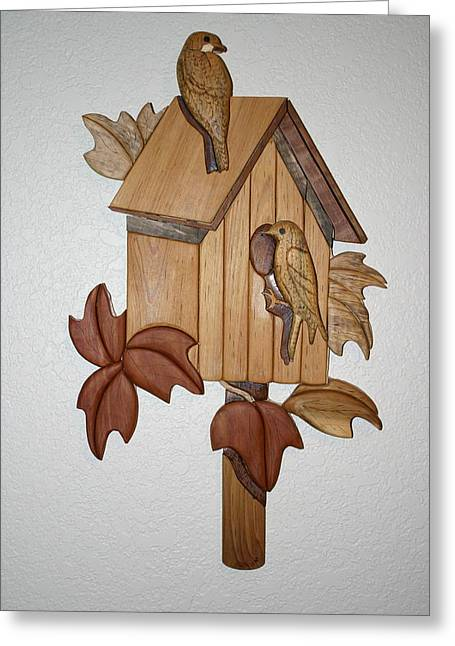 Intarsia Sculptures Greeting Cards - Bird House Greeting Card by Bill Fugerer