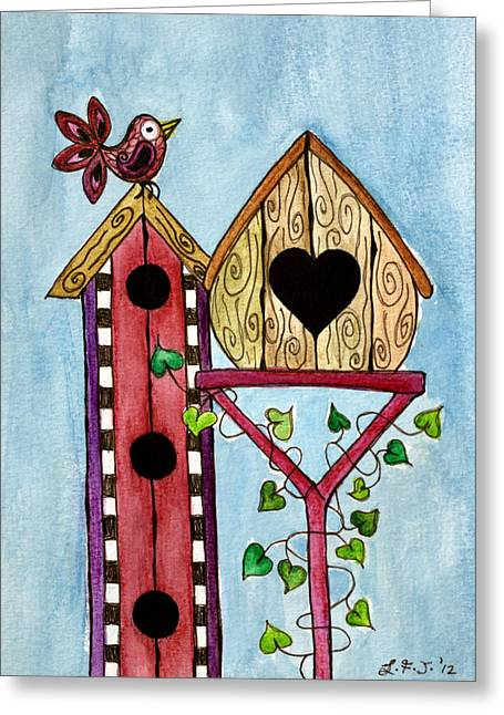 Quirky Drawings Greeting Cards - Bird House Greeting Card by Lisa Frances Judd