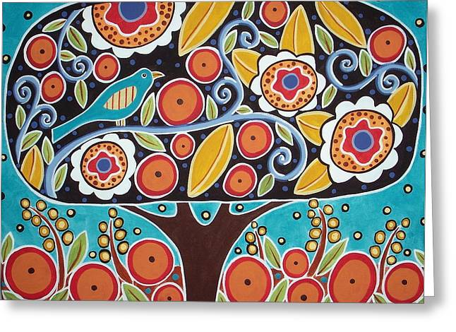 Colorful Trees Greeting Cards - Bird In Blooming Tree Greeting Card by Karla Gerard