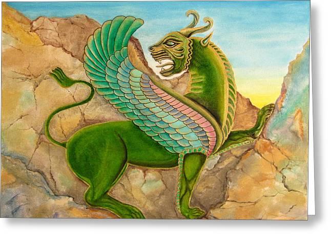 Mehran Akhzari Greeting Cards - Bird Lion  Greeting Card by Mehran Akhzari