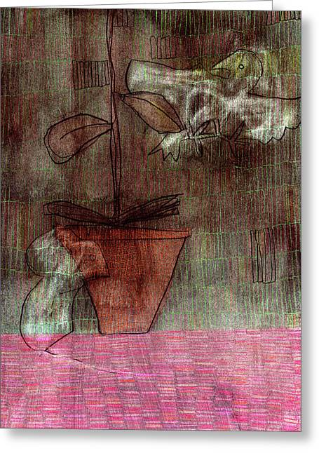 """indoor"" Still Life Drawings Greeting Cards - Bird Mouse and Plant Greeting Card by Anon Artist"