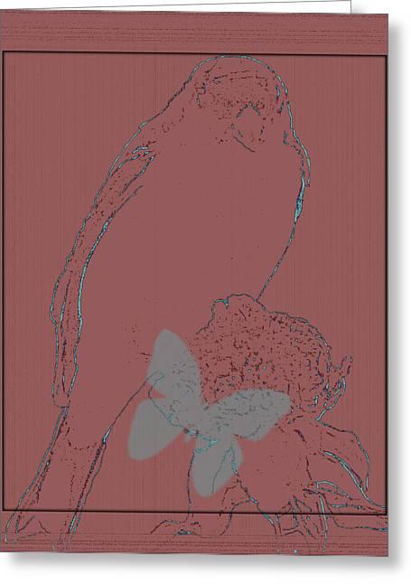 Bird On The Ground Greeting Cards - Bird Of A Flower Design Greeting Card by Debra     Vatalaro