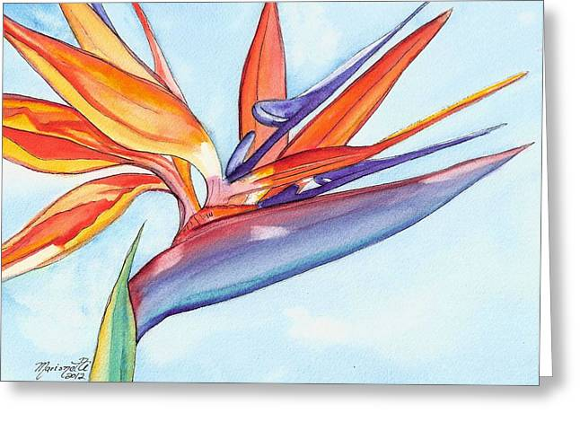 Tropical Birds Of Hawaii Greeting Cards - Bird of Paradise III Greeting Card by Marionette Taboniar
