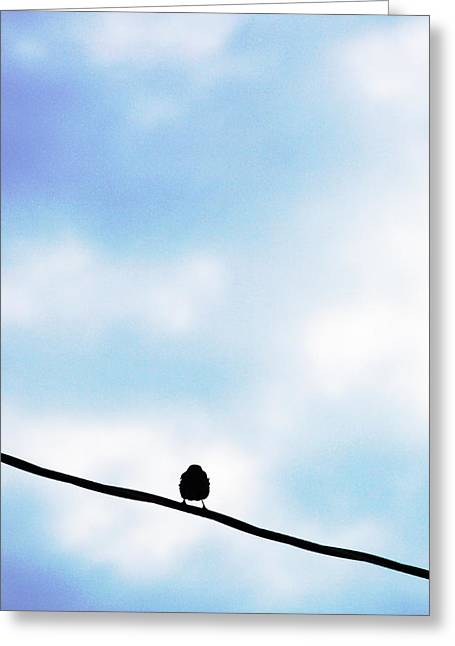 Bird  On A Wire Greeting Card by Ed Bricker