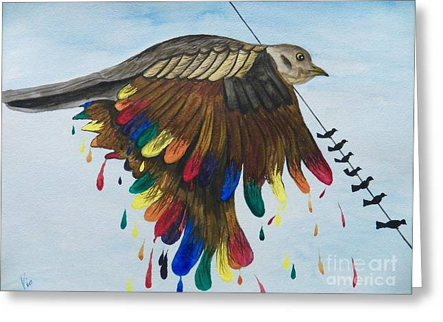 Judy Via-wolff Greeting Cards - Bird on a Wire Flys Free Greeting Card by Judy Via-Wolff