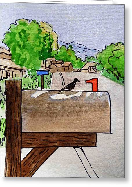 Sketch Book Greeting Cards - Bird on the Mailbox Sketchbook Project Down My Street Greeting Card by Irina Sztukowski