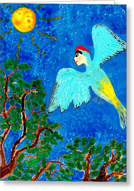 Skies Ceramics Greeting Cards - Bird people Green woodpecker Greeting Card by Sushila Burgess