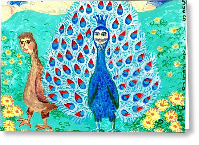 Humour Ceramics Greeting Cards - Bird people Peacock king and peahen Greeting Card by Sushila Burgess