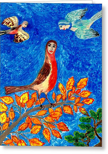 Skies Ceramics Greeting Cards - Bird people Robin Greeting Card by Sushila Burgess