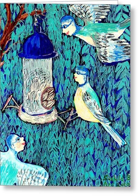 Tree Ceramics Greeting Cards - Bird people The bluetit family Greeting Card by Sushila Burgess