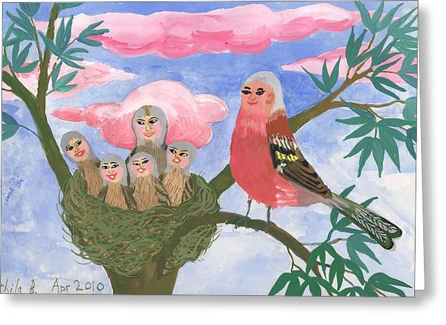 Shows Ceramics Greeting Cards - Bird people The Chaffinch Family Greeting Card by Sushila Burgess