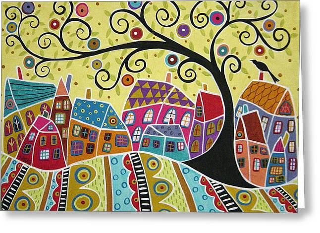 Folk Art Landscapes Greeting Cards - Bird Ten Houses And A Swirl Tree Greeting Card by Karla Gerard