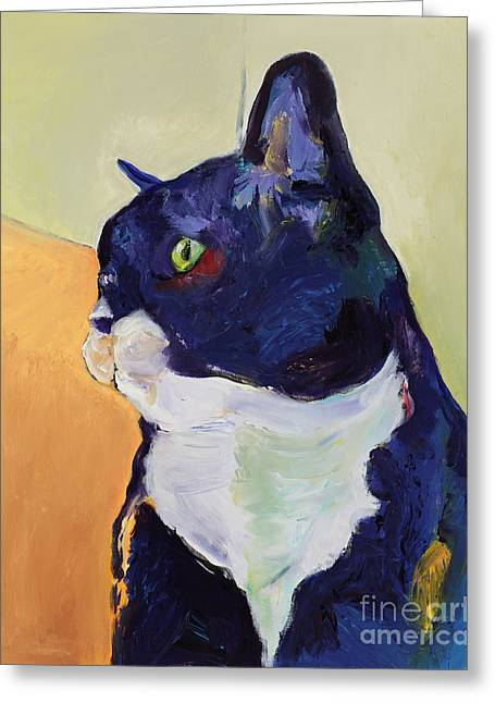 Cat Prints Paintings Greeting Cards - Bird Watcher Greeting Card by Pat Saunders-White