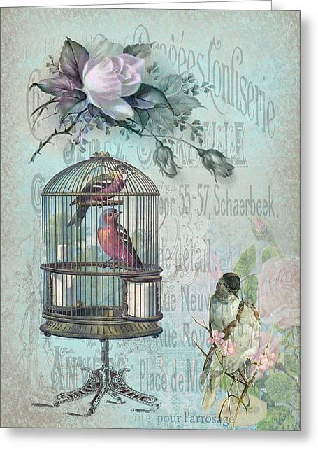 Sarah Vernon Greeting Cards - Birdcage Blossom Greeting Card by Sarah Vernon