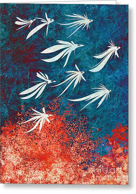 """textured Art"" Greeting Cards - Birdeeze -v04 Greeting Card by Variance Collections"