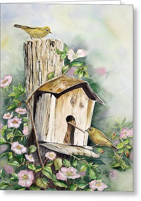 Yellow Warbler Greeting Cards - Birdhouse Buddies Greeting Card by Patricia Pushaw