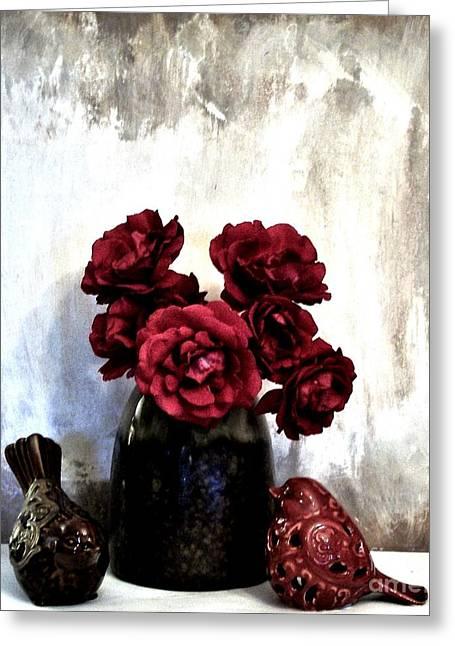 Birdies Smelling Roses Greeting Card by Marsha Heiken