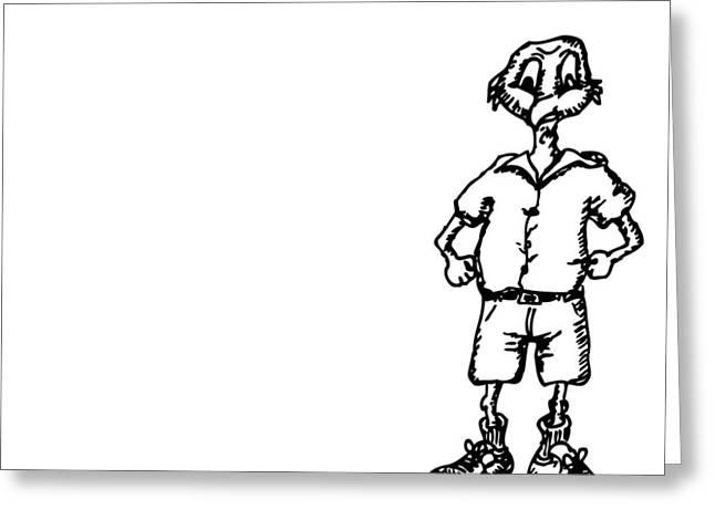 Men Shoes Greeting Cards - Birdman - Cartoon Greeting Card by Karl Addison