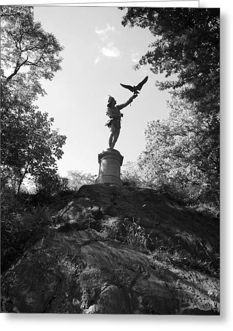 Natral Greeting Cards - BIRDMAN OF CENTRAL PARK in BLACK AND WHITE Greeting Card by Rob Hans
