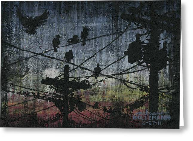 Grungy Paintings Greeting Cards - Birds 2 Greeting Card by Arleana Holtzmann