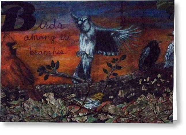 Birds Reliefs Greeting Cards - Birds among the branches Greeting Card by John Fierro