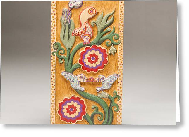 Decor Reliefs Greeting Cards - Birds and Blossoms Greeting Card by James Neill