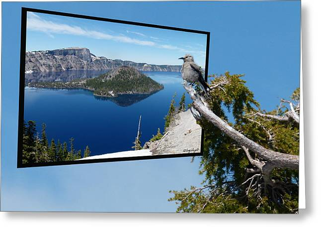 Birds Eye View Of Crater Lake Greeting Card by Cindy Wright