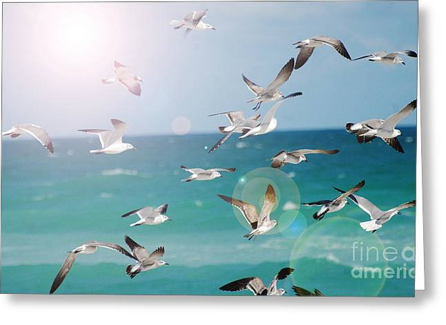 Waterscape Mixed Media Greeting Cards - Birds in Flight  Greeting Card by AdSpice Studios