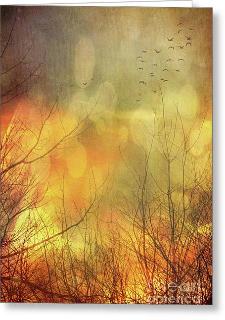 Ghostly Greeting Cards - Birds in flight at sunset Greeting Card by Sandra Cunningham